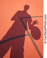 basketball player shadow - basketball player shooting on red...