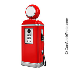 Retro Gas Pump isolated on white background 3D render