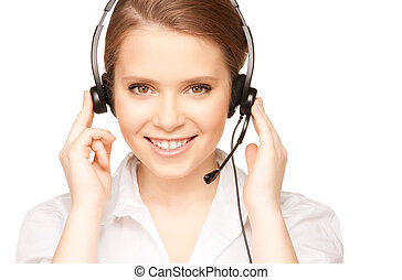 helpline operator - bright picture of friendly female...