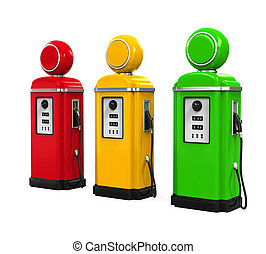Retro Gas Pumps isolated on white background 3D render