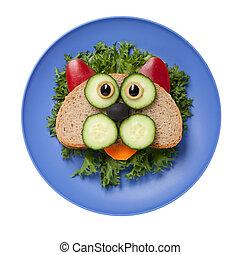 placa, hecho, vegetales, gato, sorprendido,  bread