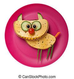 queso, gato, hecho,  bread, placa