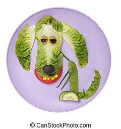 placa, hecho, perro, ensalada, feliz