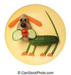 placa, vegetales, hecho, confuso, perro