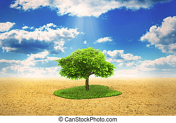 Concept of environmental protection. Tree stand on grass in...