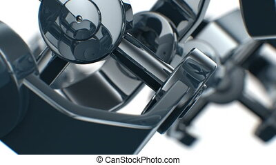 Mechanical parts turning in close-up with DOF. Looped 3d...
