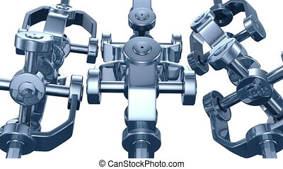 3d animation of mechanical parts spinning in seamless loop....