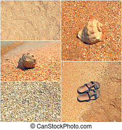 Holiday mosaic of shot of sand, transparent water,shells,...