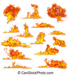 Fire flames collection on white background - Set of various...