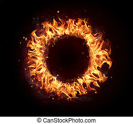 Fire circle isolated on black background - Abstract shape of...