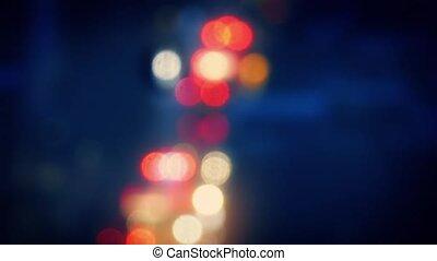 City Bokeh Car Lights At Night - Abstract car lights bokeh...