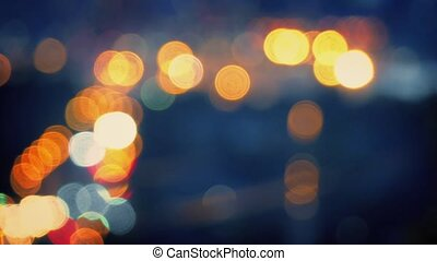 City Landscape Bokeh - Evening cityscape abstract with car...