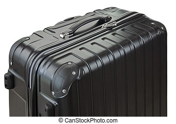 Side view of a big lightweight hard shelled suitcase focus...