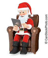 3D Santa Claus sitting on a sofa with a tablet