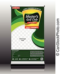golf tournament roll up stand design vector illustration