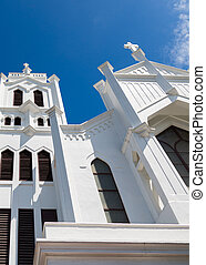 Crosses on White Steeples - White towers on an old Episcopal...