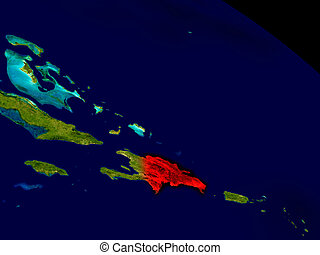 Dominican Republic from space in red 3D illustration with...