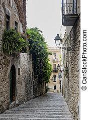 Girona Catalunya, Spain, old street - Girona Gerona,...