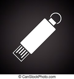USB flash icon. Black background with white. Vector...