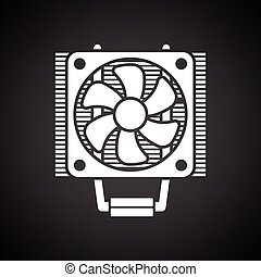 CPU Fan icon. Black background with white. Vector...