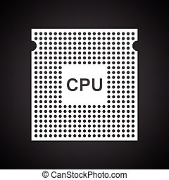 CPU icon. Black background with white. Vector illustration.