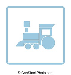 Train toy ico. Blue frame design. Vector illustration.