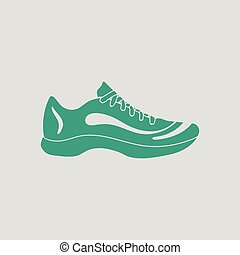 Sneaker icon. Gray background with green. Vector...