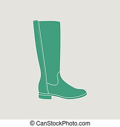 Autumn woman boot icon. Gray background with green. Vector...