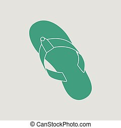 Flip flop icon. Gray background with green. Vector...