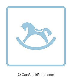 Rocking horse ico. Blue frame design. Vector illustration.
