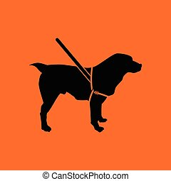 Guide dog icon. Orange background with black. Vector...