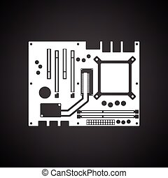 Motherboard icon Black background with white Vector...
