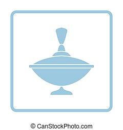 Peg-Top ico. Blue frame design. Vector illustration.