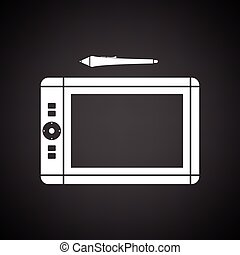 Graphic tablet icon. Black background with white. Vector...
