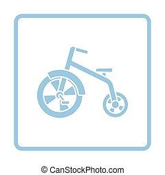 Baby trike ico. Blue frame design. Vector illustration.