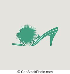 Woman pom-pom shoe icon. Gray background with green. Vector...