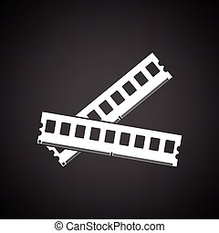 Computer memory icon. Black background with white. Vector...