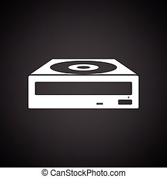 CD-ROM icon. Black background with white. Vector...