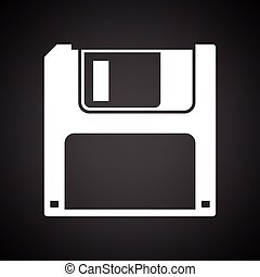 Floppy icon. Black background with white. Vector...