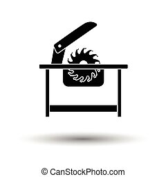 Circular saw icon. White background with shadow design....