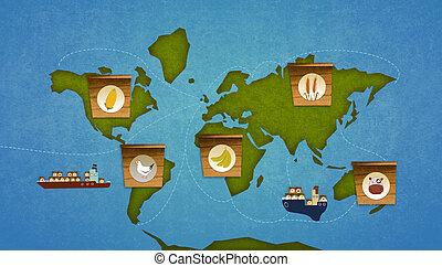 Food importation on earth. World map infographic. Digital...