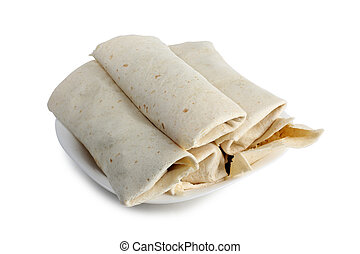 Burrito and ingredients on a white background