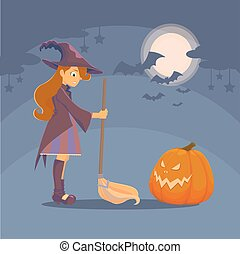 Witch met pumpkin - Witch with a broom and a big hat met...