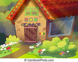 Granny's house. - Granny's house in the forest drawn in...
