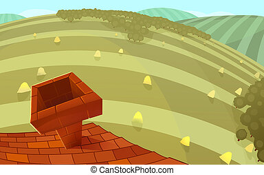 Landscape, roof view. - Red tiles roof with a chimney and...