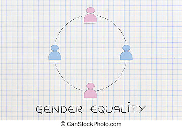 gender equality and equal opportunities, team of men and...
