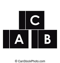 Alphabet cubes with letters A,B,C icon - icon in simple...