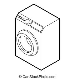 Washing machine icon, outline style - icon in outline style...
