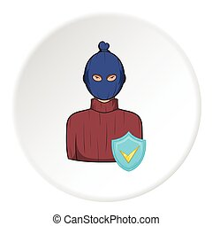 Robber and sign security icon, cartoon style - Robber and...