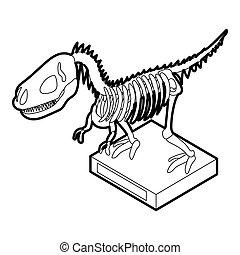 Dinosaur skeleton icon, outline style - Dinosaur skeleton...